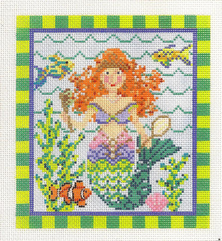 Kelly Clark Canvas – Mermaid With Red Hair handpainted Needlepoint Canvas **SP. ORDER**