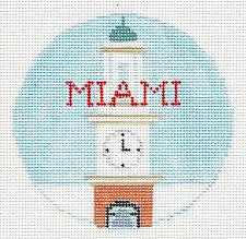 Travel Round~Miami handpainted Needlepoint Canvas~by Kathy Schenkel**MAY NEED TO BE SPECIAL ORDERED**