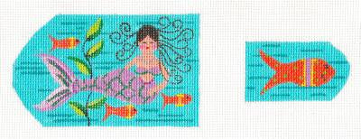 Scissor Case-Milli the Mermaid and Fish Fob on Handpainted Needlepoint Canvas ~ by Danji Designs