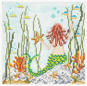 "Canvas~Mermaid Scene 5"" Square handpainted Needlepoint Canvas~by Needle Crossings"