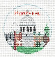Travel Round~Montreal handpainted Needlepoint Canvas~by Kathy Schenkel**MAY NEED TO BE SPECIAL ORDERED**