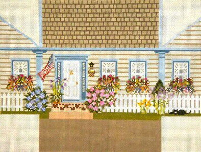 Brick Cover~New England Cottage handpainted Needlepoint Canvas~by Needle Crossings