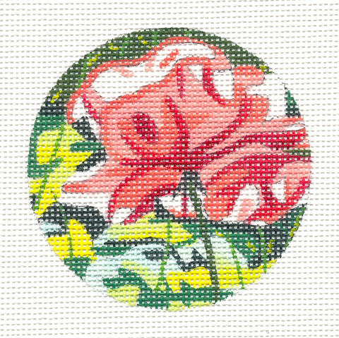 Round~Ruffle Rose Ornament on Hand Painted Needlepoint Canvas by JulieMar