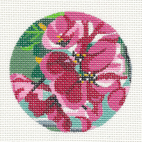 Round~Geranium Ornament on Hand Painted Needlepoint Canvas by JulieMar