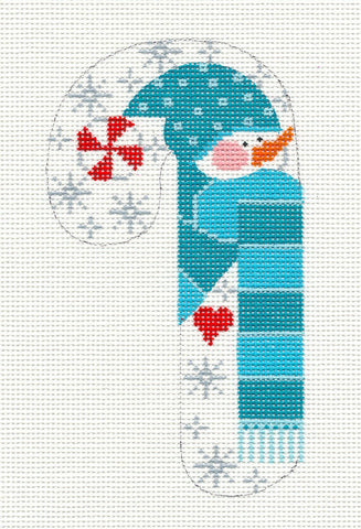 Medium Candy Cane Blue Snowman With Heart Ornament on hand painted Needlepoint Canvas~ by Danji Designs