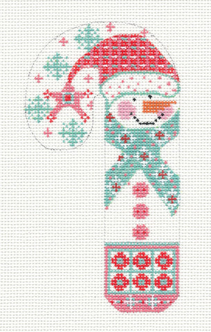 Medium Snowman w/ Snowflakes and Scarf handpainted Needlepoint Canvas by Danji Designs