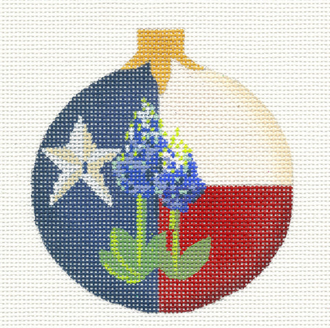 Kelly Clark Christmas– Texas State with Bluebonnets  handpainted Needlepoint Canvas Ornament **SP. ORDER**