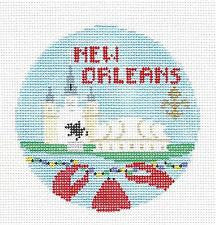 Travel Round~New Orleans handpainted Needlepoint Canvas~by Kathy Schenkel**MAY NEED TO BE SPECIAL ORDERED**
