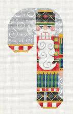Large Candy Cane Nutcracker Ornament on hand painted Needlepoint Canvas~ by Danji Designs **SP. ORDER**