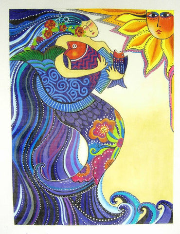 Laurel Burch OCEAN SONG large handpainted Needlepoint Canvas from Danji Designs *SP.ORDER*