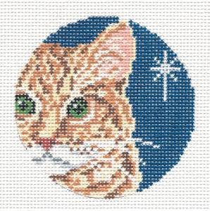 "Round~4"" Orange Tabby Cat Ornament 13 MESH handpainted Needlepoint Canvas~by Needle Crossings"