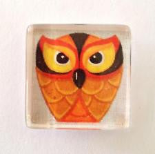 Magnet~Orange Owl Glass Magnet Needle Holder by Raymond Crawford