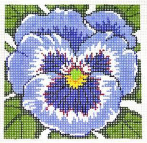 Canvas Floral~LEE Blue Pansy Flower Series handpainted Needlepoint Canvas on 12 Mesh