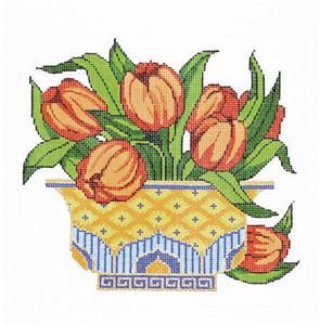 Canvas Floral~Vase of Spring Tulip Blossoms Design handpainted HP Needlepoint Canvas 18m