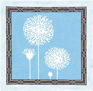 Canvas Floral~LEE Contemp. Dandelions on a blue handpainted Needlepoint Canvas