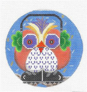 "Round~Owl in Ear Muffs handpainted Needlepoint Ornament by Kamala from Juliemar 4""Rd."
