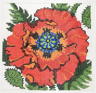 Canvas Floral~LEE Red Poppy Flower Series handpainted Needlepoint Canvas on 12 Mesh