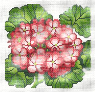 Canvas Floral~LEE Red Geranium Flower Series handpainted Needlepoint 12 mesh Canvas