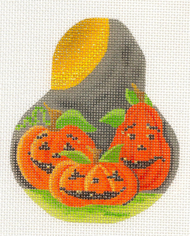 "Kelly Clark Pear – ""Pumpkin Patch"" ~ 3 Pumpkins on a Pear & STITCH GUIDE handpainted Needlepoint Canvas Ornament"