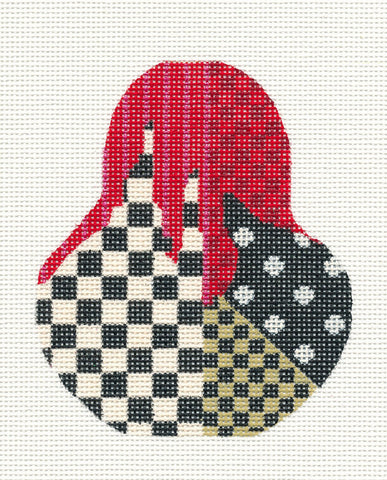 Kelly Clark Pear– Red and Black Checkered Pear handpainted Needlepoint CanvasOrnament **SP. ORDER**