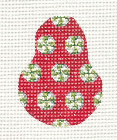 Kelly Clark Pear– Wintergreen Candy Pear & Stitch Guide handpainted Needlepoint Canvas