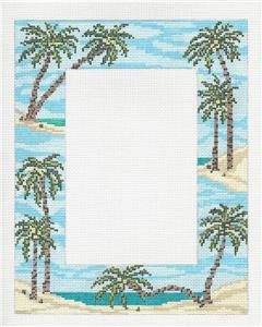 Canvas~Tropical Palm Trees Picture Frame handpainted Needlepoint Canvas~by Needle Crossings