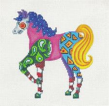 Canvas~HORSE Colorful Patchwork handpainted Needlepoint Canvas or Ornament Patti Mann