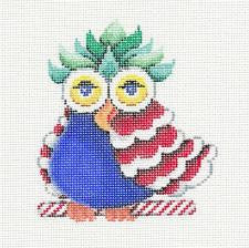 Canvas~OWL BABY Colorful Patchwork handpainted Needlepoint Ornament by Patti Mann