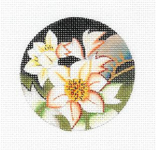 "Round~3""Peach and White Floral handpainted Needlepoint Canvas~ By Lani"