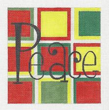 Christmas~ PEACE Christmas Colors handpainted Needlepoint Canvas by Raymond Crawford **SPECIAL ORDER**