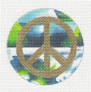 "Round~3""Peace Sign on Bright Colors handpainted Needlepoint Canvas~ By Lani"