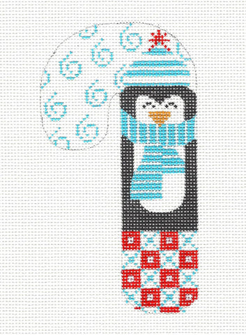 Medium Candy Cane Penguin in Blue with Scarf and Hat ~ by Danji Designs ***SPECIAL ORDER***