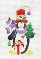 Penguin~In Scarf hand painted Needlepoint Canvas~ by Strictly Christmas