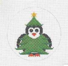 "Round~4.5""Christmas Tree Penguin handpainted Needlepoint Canvas~by JP Needlepoint"