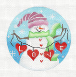 Round~LOVE Snow Lady with Stitch Guide-18 Mesh handpainted Needlepoint Canvas~by Pepperberry