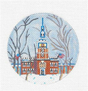 Round~Philadelphia Independence Hall handpainted Needlepoint Ornament by JulieMar***SPECIAL ORDER***