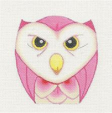 Owl~Pink and Cream Ornament handpainted Needlepoint Canvas by Raymond Crawford