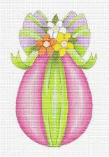 Easter~Pink Easter EGG Ornament handpainted Needlepoint Canvas by Raymond Crawford