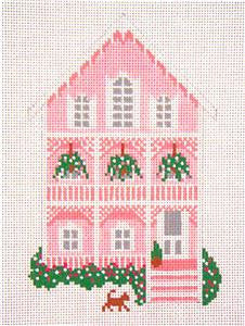 Canvas House~The Pink House, Cape May, NJ handpainted Needlepoint Canvas~by Needle Crossings