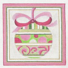 Christmas~ Pink Ornament handpainted Needlepoint Canvas by Raymond Crawford **SPECIAL ORDER**