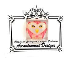 Magnet~Pink Owl Magnet Glass Needle Holder by Raymond Crawford