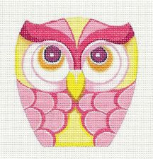Owl~Pink & Yellow Ornament handpainted Needlepoint Canvas by Raymond Crawford