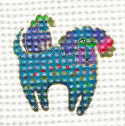 Laurel Burch Poodle and Pup Handpainted Needlepoint Canvas by Danji Designs