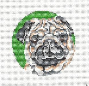 "Round~3"" Pug Dog Ornament handpainted Needlepoint Canvas~by Needle Crossings"