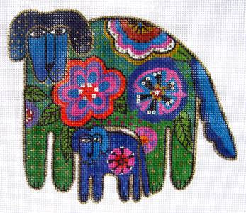 Laurel Burch Mom & Pup Floral Dogs Handpainted Needlepoint Canvas by Danji Designs