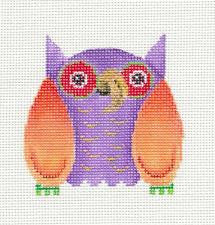 Canvas~Purple & Orange Patchwork Owl handpainted Needlepoint Canvas by Patti Mann