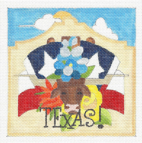 Canvas~State of Texas handpainted Needlepoint Canvas by Raymond Crawford