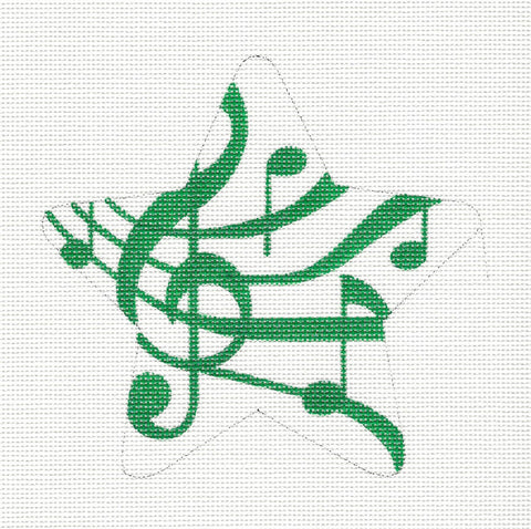 Star~Musical Notes Green and White Star Ornament handpainted Needlepoint Canvas by Raymond Crawford***Special Order***