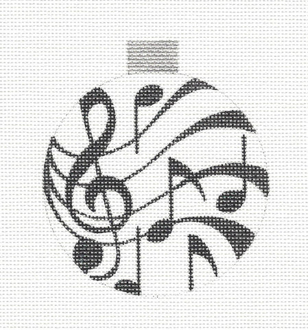 Round~Musical Notes Black and White Round Ornament by Raymond Crawford ***Special Order***
