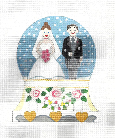 Canvas~Snow Globe Just Married handpainted Needlepoint Canvas by Raymond Crawford